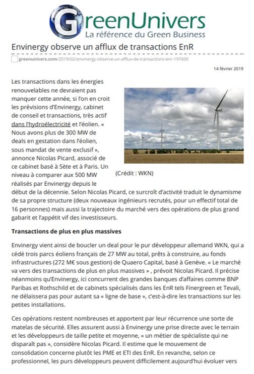 Article Green Univers - 14 février 2019