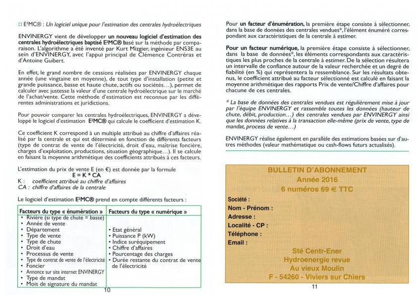 Avril 2016, HydroEnergie Revue N° 108, p10-11