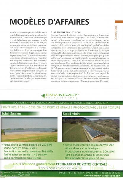 Avril-Mai 2016, Le Journal du Photovoltaïque, N° 16, p58