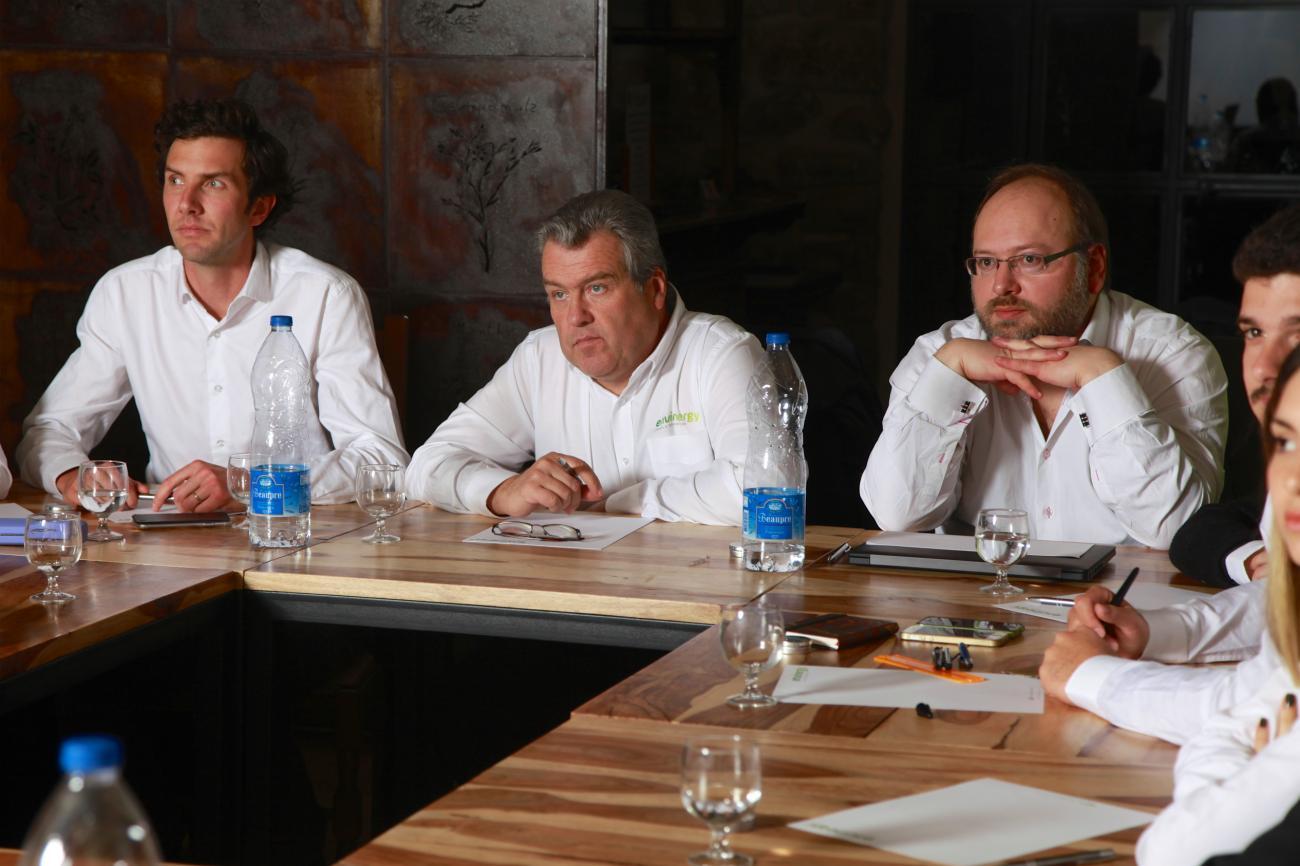 Clément Prouvost, Jean-Paul Loyau et Jerôme Gauvrit en séminaire d'entreprise