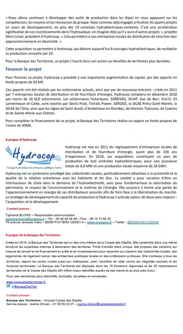 Communiqué d'Hydrocop pour l'opération Canodor p2