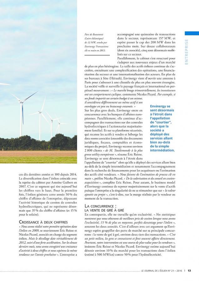 Interview Nicolas Picard et Eric Reisse pour Le Journal de l'Éolien N°24 p13