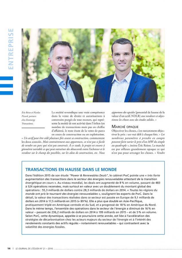 Interview Nicolas Picard et Eric Reisse pour Le Journal de l'Éolien N°21 p14