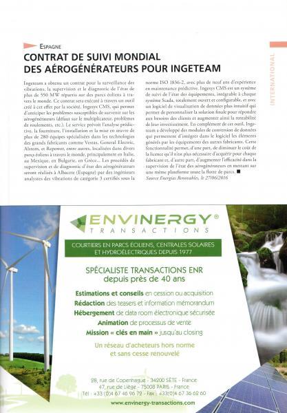 Juillet-Août 2016, Le Journal de l'Éolien, N° 20, p27