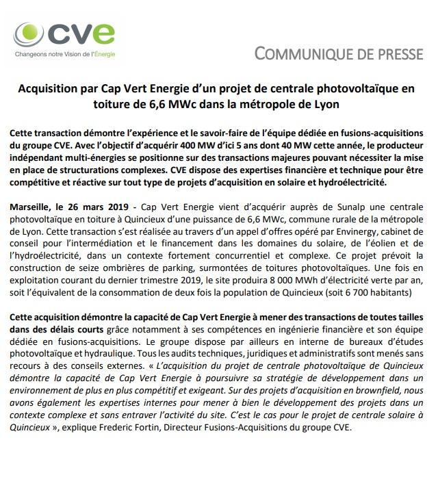 Acquisition d'un projet solaire par CVE