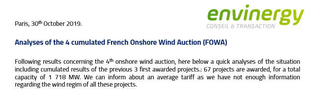 Analyses of the 4 cumulated French Onshore Wind Auction (FOWA)