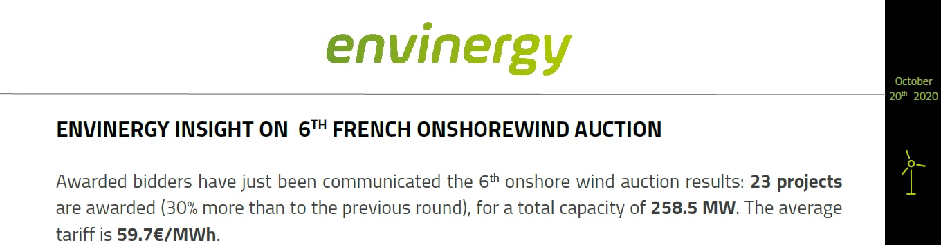 Analyses of the 6 cumulated French Onshore Wind Auction (FOWA)