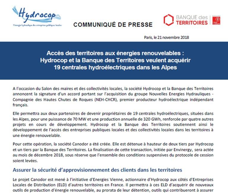 Communiqué de presse Hydrocop - Canodor