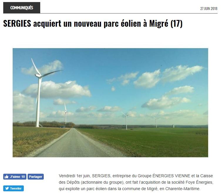 Cession d'un Parc éolien d'une puissance de 10,25 MW