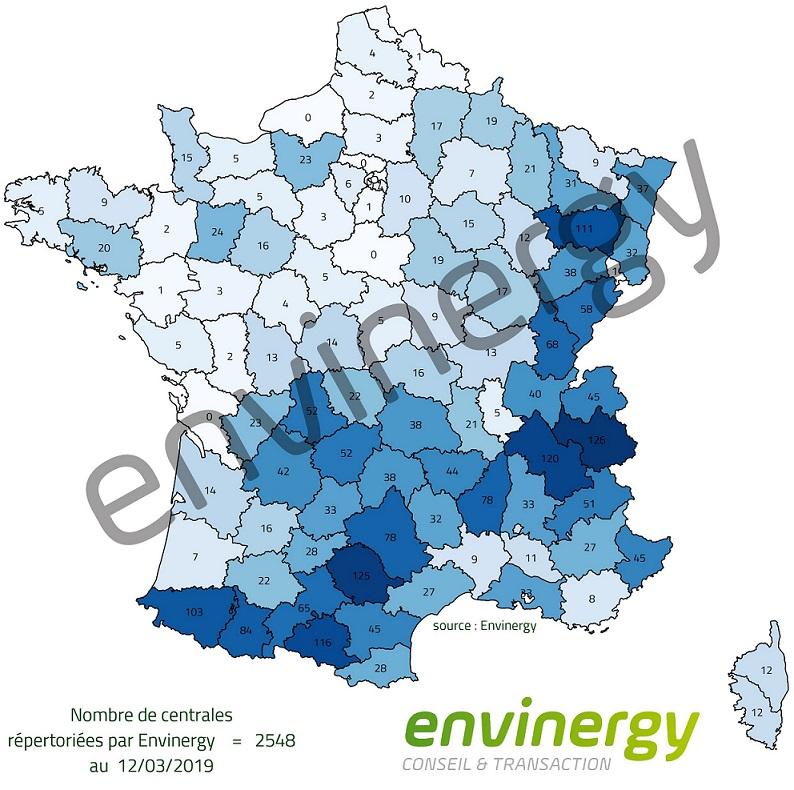 Nombre de centrales hydroélectriques répertoriées par Envinergy