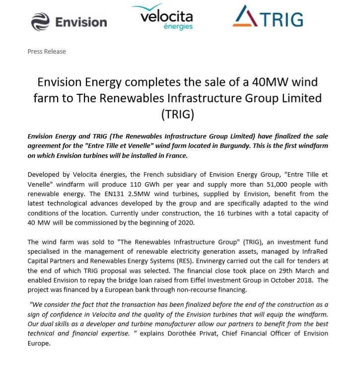 Vente d'un projet éolien de 40 MW conclu entre Envision et TRIG